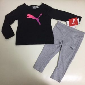 Puma baby girl long sleeve top leggings set